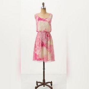 Anthropologie Postmark Rosy Plumes Silk Dress